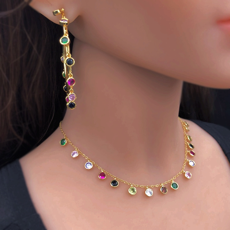 Luxury colorful round Bezel Drip Jewelry Set Gold Color Rainbow Choker Necklace Circle Hoop Earrings sets Women party Jewelry