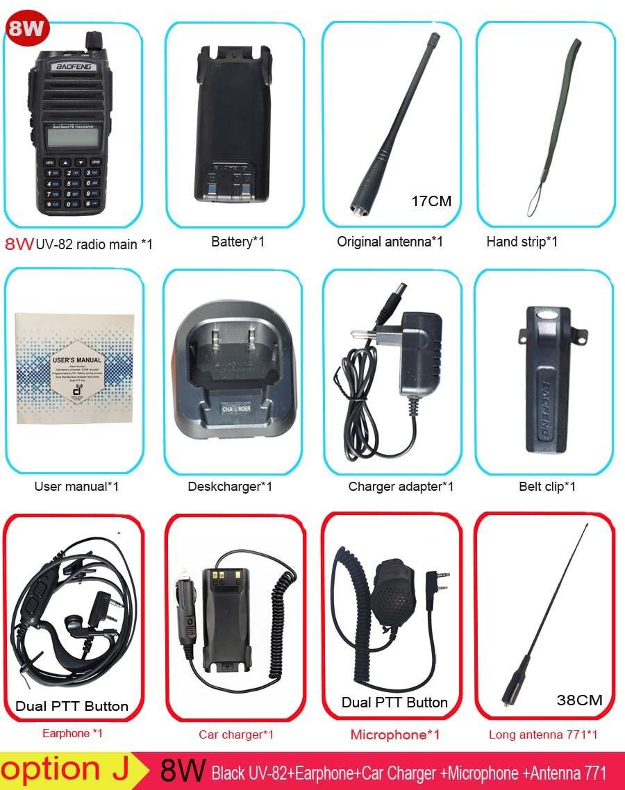 Популярная портативная рация, Baofeng, UV-82, две кнопки PTT, двухстороннее радио Vhf Uhf, двухдиапазонное Baofeng UV 82 UV82, двухстороннее радио - Цвет: Option J