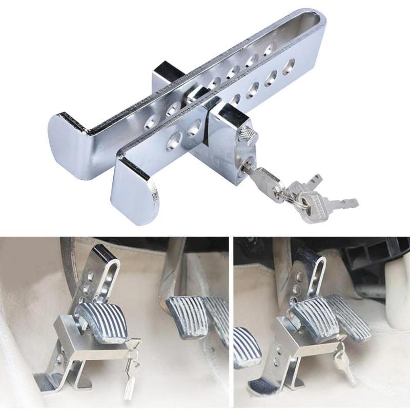Neue Universal Auto Auto Bremse Kupplung Pedal Lock Edelstahl Anti-Diebstahl Starke Sicherheit Für Autos Lkw Kupplung Pedal Accelerator