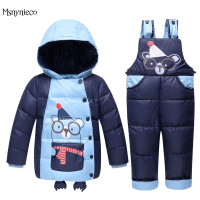 Children Down Clothing Sets 2017 Winter Baby Boys Down Jacket Warm Coat Jumpsuit 2Pcs Kids Down