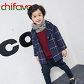 chifave 2016 Autumn Boys Jacket New Children Boys Outwear Clothes Boys Long Sleeve Grid Coat 2 Color Boys Coat 24M-6T