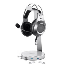 Lesozoh Headset Headphone stand Holder With 5 Ports of Usb 3.0 Hub Display Audio Port For Bracket and Cable Storage