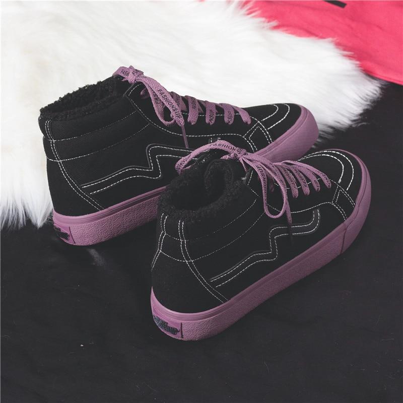 ad46fa02590398 Filles white De 2018 Mode Fourrure Plat Talon Purple Chaussures Tops Toile  Femme black La Purple ...