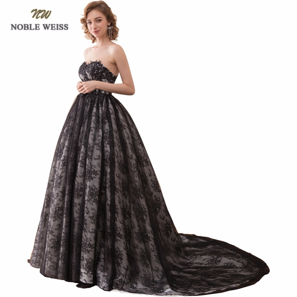 NOBLE WEISS Sexy Ball Gown Evening Dresses Black Lace Prom Gown Sweetheart Robe de Soiree 2019 Formal Special Occasion Gowns