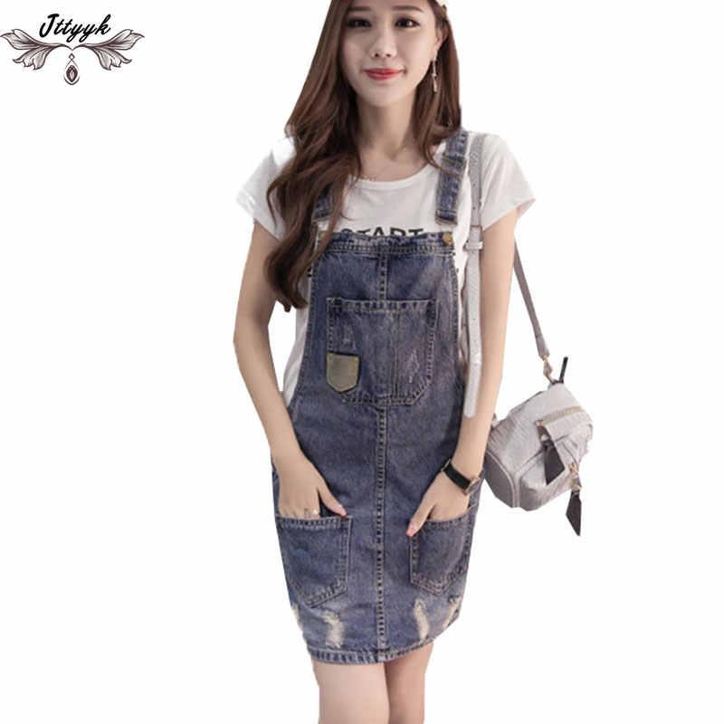 dedb8ee771b56b3 Vestidos 2019 плюс Размер летнее джинсовое платье женское стираное без  рукавов на подтяжках джинсовое платье Сарафан