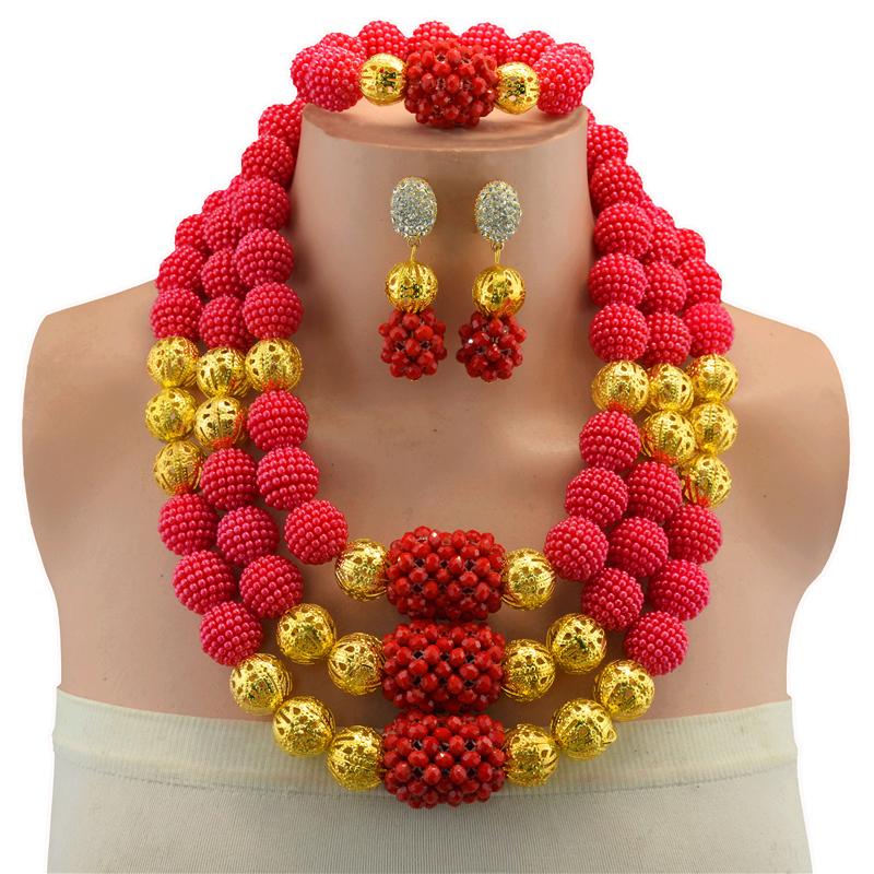 Free Shipping Jewelry Sets For Women Wedding Red African Beads Party Gold Color Crystal Pendant Necklace Earrings Accessories