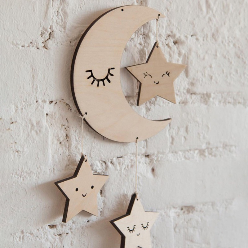 Nordic Style Star And Cloud Shape Wooden Beads Wall Hanging Ornament For Photography Tassel Pendant Kids Room Decoration