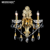 Gold Wall Sconces Crystal Light Fixture 2 Arms Silver Home Lighting Wall Bracket Bra Light MD8504