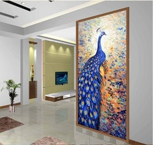 3d room wallpaper custom mural non-woven Wall sticker Blue peacock knife painting art porch  photo wallpaper for walls 3d