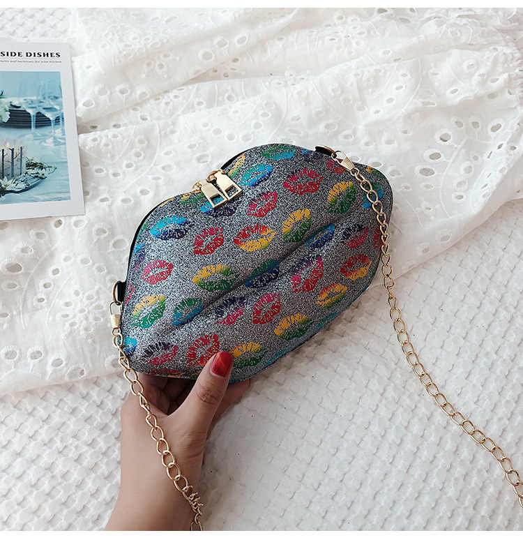 Sexy Lippen Mode Pailletten Pu Dames Dag Clutch Bag Chain Purse Schoudertas Handtas vrouwen Crossbody Mini Messenger Bag flap