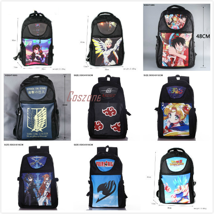 Naruto One Piece Aword Art On Line Overwatch Fairy Tail Sailor Moon Cosplay Backpack School Shoulder Bags Laptop Travel Rucksack