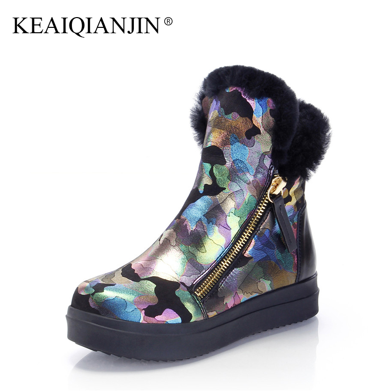 KEAIQIANJIN Woman Wool Snow Boots Winter Genuine Leather Platform Shoes Zipper Flat With Black White Shearling Ankle Boots 2017 cocoafoal women s wool snow boots woman ankle boots silvery winter snow boots flat with platform wool snow boots genuine leather
