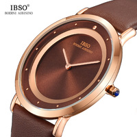 IBSO Brand Fashion Mens Watches Top Luxury 7MM Ultra thin Dial Genuine Leather Strap Business Watch Men Simple Relogio Masculino