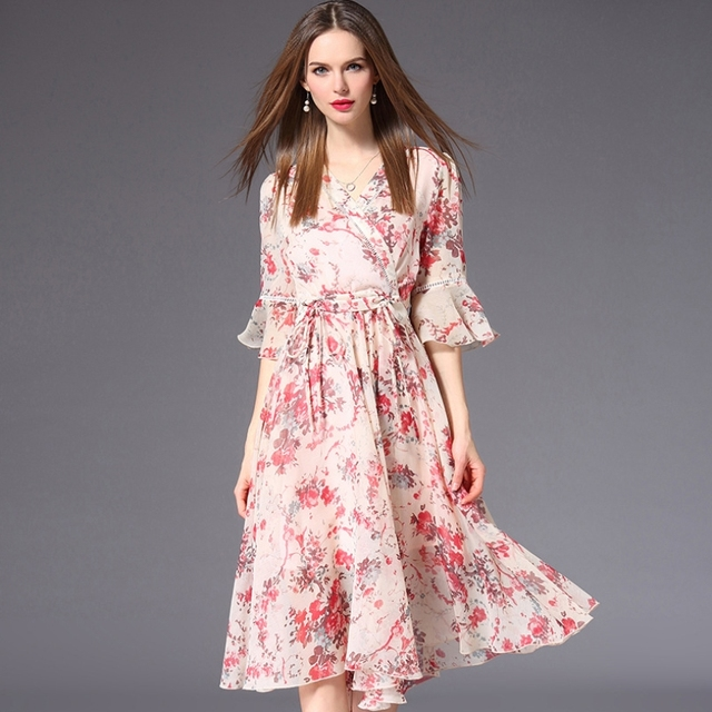 59cb2f2b510 New Arrive Summer Dress Casual Knee-Length Half Flare Sleeve Pink Floral  Sundress Youth Women Office V-Neck Chiffon Dresses