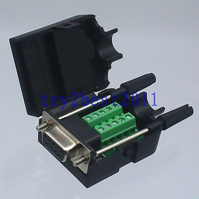 Connector DB9 9pin jack pin D-SUB Terminal Board Plastic Cover solderless screw original 6609113 9 connector
