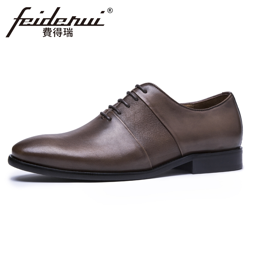 Luxury Handmade Genuine Leather Men's Oxfords Round Toe Lace-up Man Wedding Business Flats Formal Designer Dress Shoes KUD79 good quality men genuine leather shoes lace up men s oxfords flats wedding black brown formal shoes