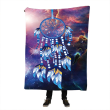 Dreamcatcher Fleece Blanket Indian Wolf Reversible Sherpa Throw on the Bed Wild Animal Tribal 150x200 CM