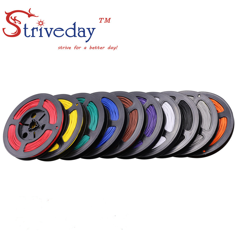 50 meters roll UL 1007 28awg Stranded Wire Electrical Wire Cable Line Airline Copper PCB Wire DIY 10 colors selection in Wires Cables from Lights Lighting