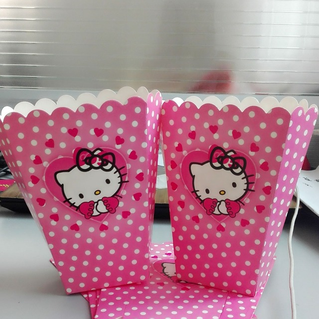 ba1572dc0f49 6pcs set Funny Hello Kitty Party Supplies Popcorn Box Birthday Party  Accessory Decoration Popcorn Box