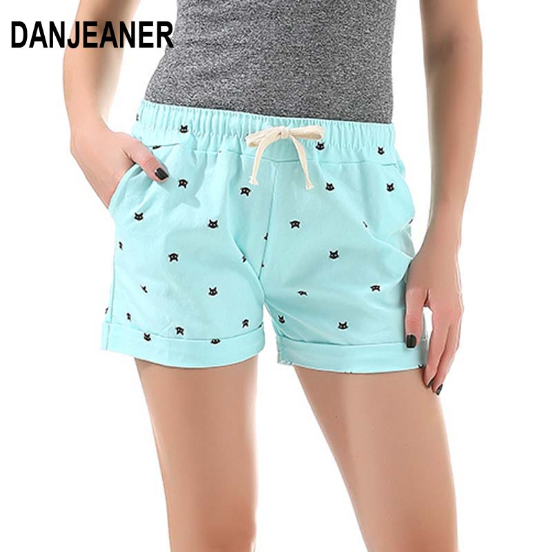 Danjeaner 2019 New Cotton Women's Casual Shorts Home-Style Cat's Head Candy-Colored Shorts