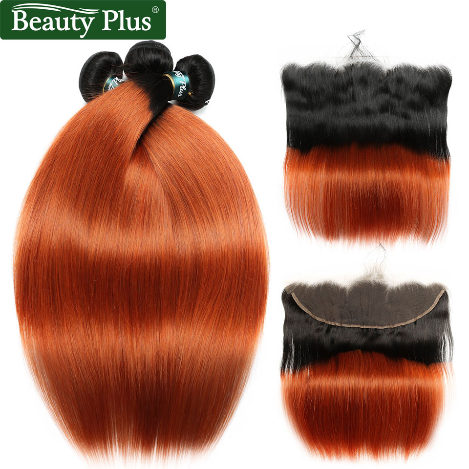 BP Peruvian Hair Orange Bundles With Closure 13x4 Bundles With Frontal Straight Hair Ombre Bundles With Closure Non Remy Human