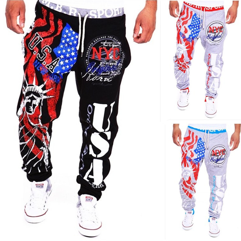 NEW 2018 Autumn Winter USA goddess of victory statue Printed Casual Hip Hop streetwear Elastic Waist Cargo Loose trousers men ...