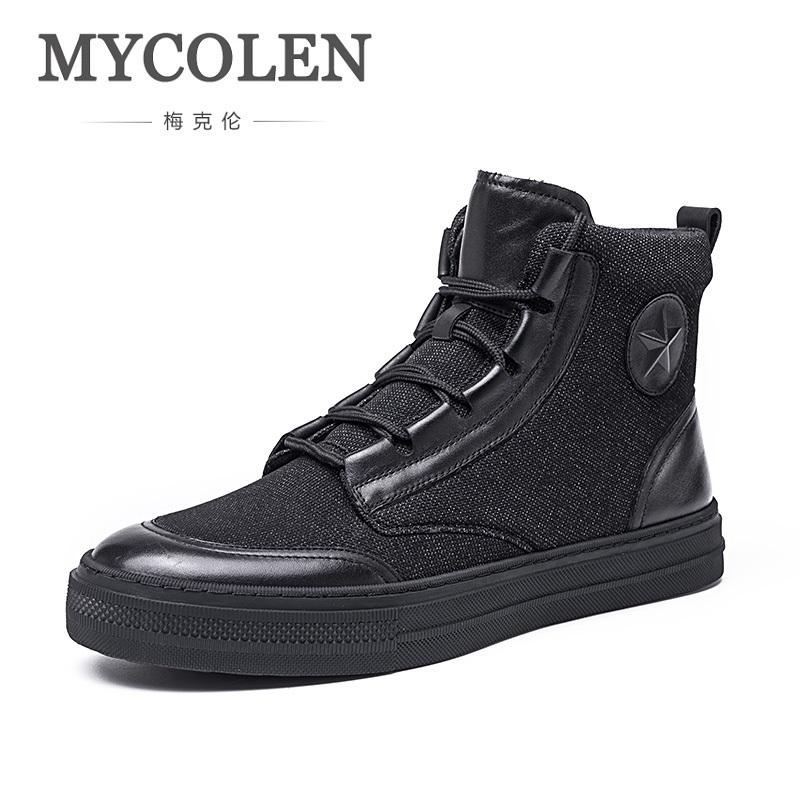 MYCOLEN New High Quality Men Black Shoes Fashion High Top Men's Casual Shoes Elegant Breathable Canvas Shoes Botas Masculina hot sale 2016 top quality brand shoes for men fashion casual shoes teenagers flat walking shoes high top canvas shoes zatapos