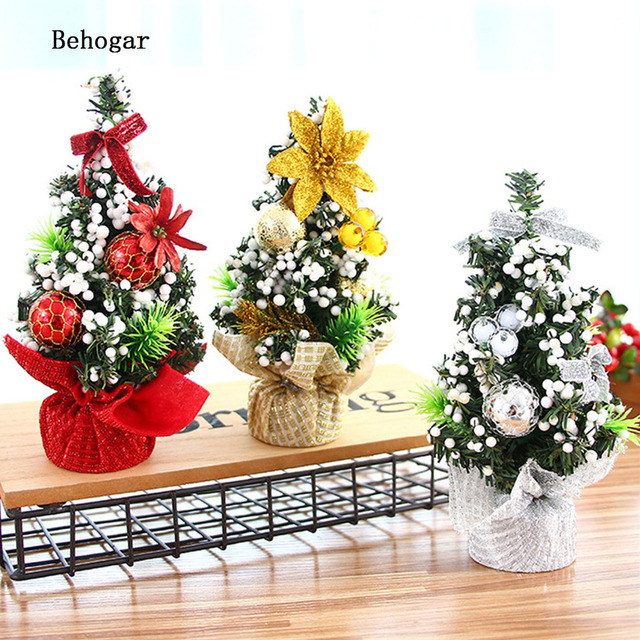 Behogar Mini Christmas Tree Table Decorations Xmas Ornament Decor For Home Office Shop Window Kerstboom