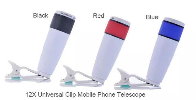 Clip universal lente telefoto 12x zoom telescopio del teléfono móvil para nokia 6, asus zenfone pegasus 3 s, para huawei, p10 p10 plus