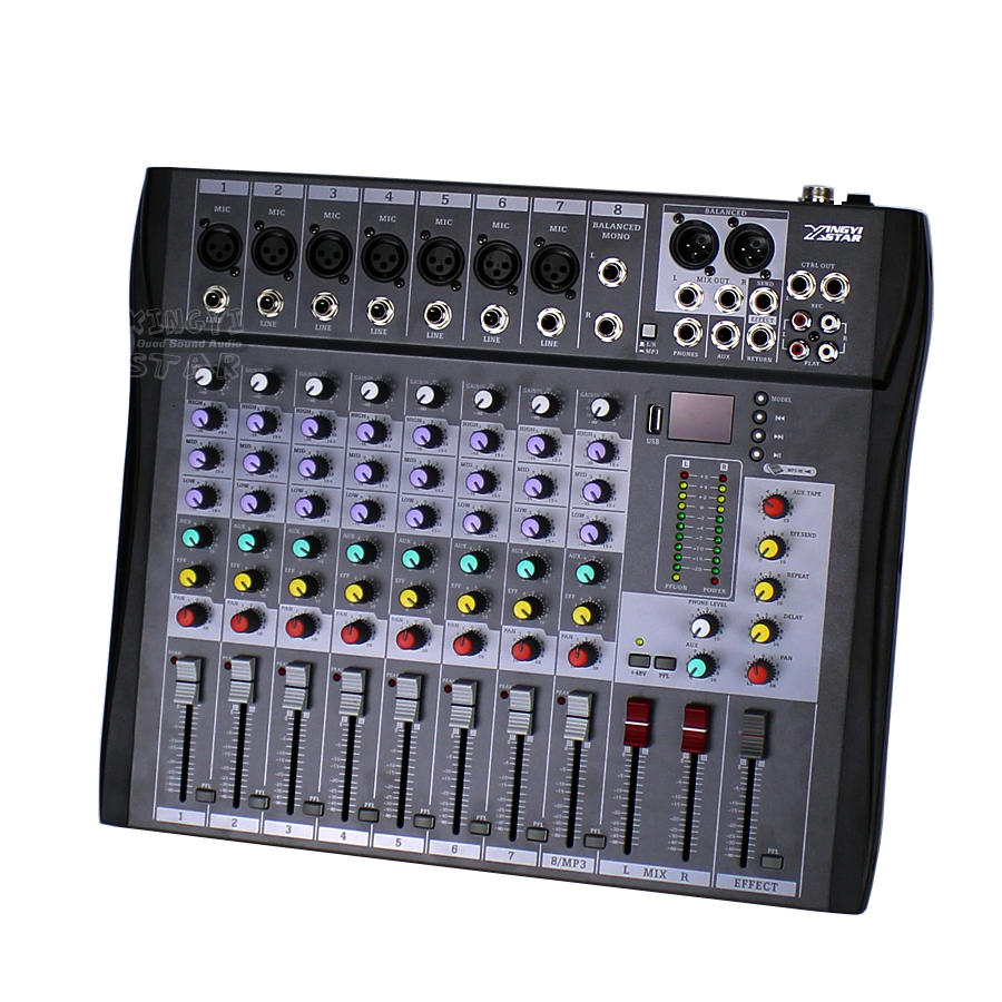 professional 8 channels electric audio mixer dj music digital console usb xlr line input 48v. Black Bedroom Furniture Sets. Home Design Ideas