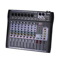 Professional 8 Channels Electric Audio Mixer DJ Music Digital Console USB XLR LINE Input 48V Phantom Power Stage Karaoke Mixing