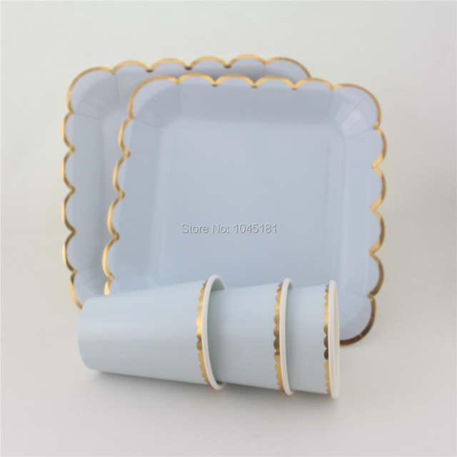 Us 17739 19 Offipalmay Pastell Solide Platz Papier Teller Tassen Geschirr Mit Goldrand Hochzeit Taufe Verlobungsfeier Liefert Rosa Blue Mint In