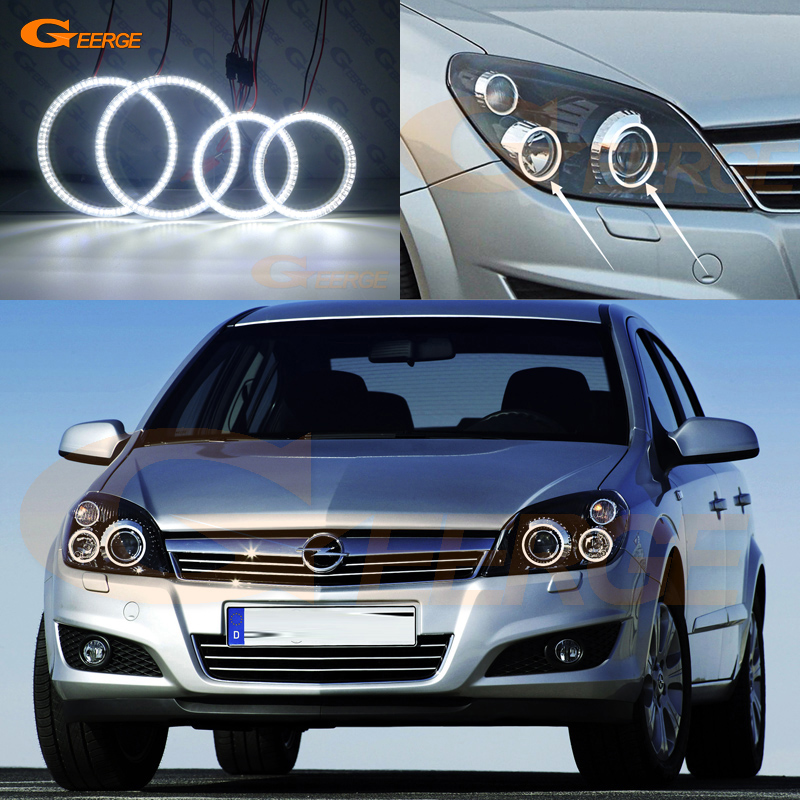 For Opel Astra H 2004 2010 Xenon headlight Excellent Ultra bright illumination smd led Angel Eyes kit DRL