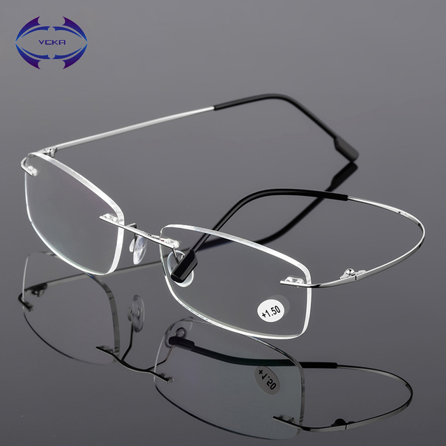VCKA Rimless Reading Glasses Men Titanium Alloy Fold Women Square Eyeglasses Presbyopic Frameless Eyewear +1.0 +1.5 +2.0 +2.5