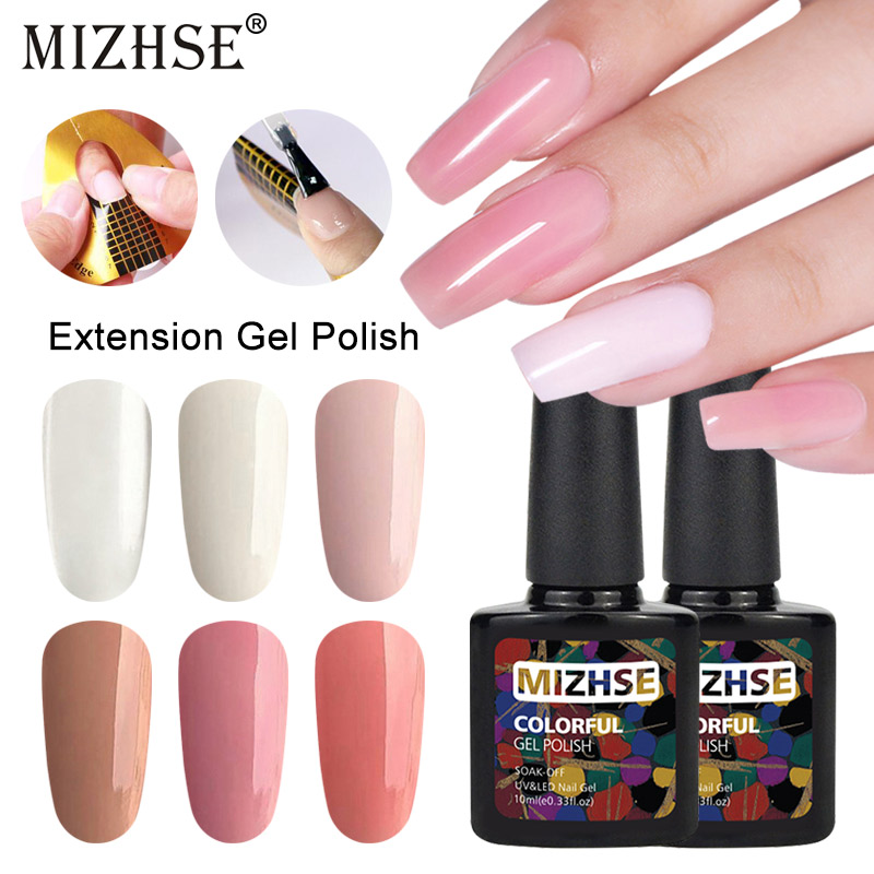 MIZHSE Liquid Acrylic Poly Gel Quick Extension Gel Polish 10ml Clear Pink UV Builder Gel Nail Form Tips Camouflage Gel Polish