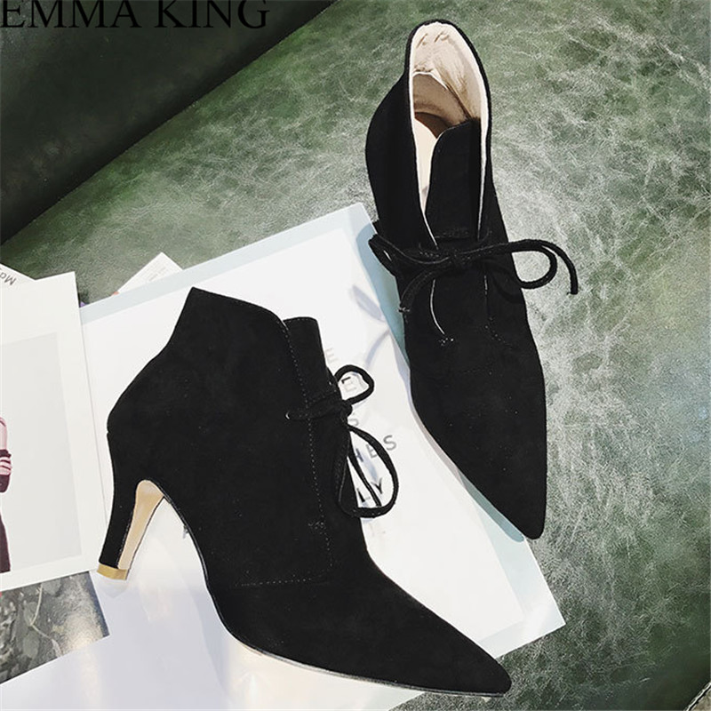 Women Black Cross Tied Short Women Boots Pointed Toe Thin Heel Med Party Shoes Ankle Fashion Autumn Party Ladies Shoes