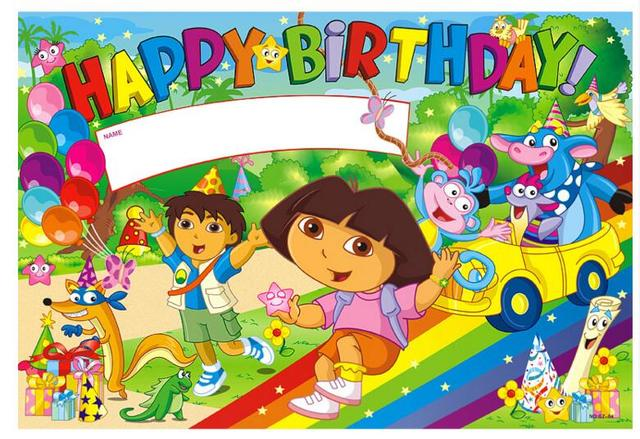 Dora birthday poster or holiday wall paper for party suppliers kids