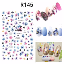цена на 1 Sheet Colorful Chinese Ink Flower Painting Stickers Nail Art Decal Romantic Heart Nail Art DIY Decorations Tips Floral Decor
