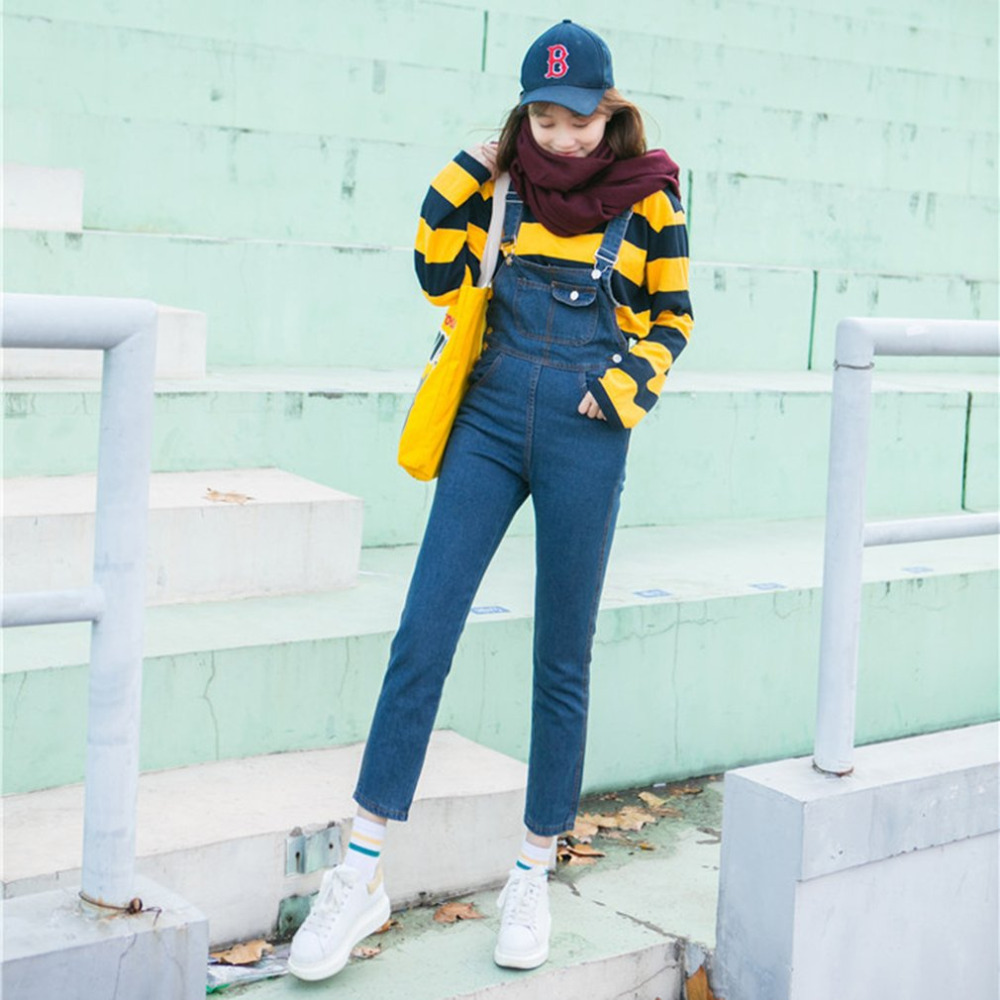 Women Denim Overalls High Waist Fashion Adjustable Strap Jumpsuit Jeans Pants Female Trousers Light Blue Slim Denim Rompers Bib