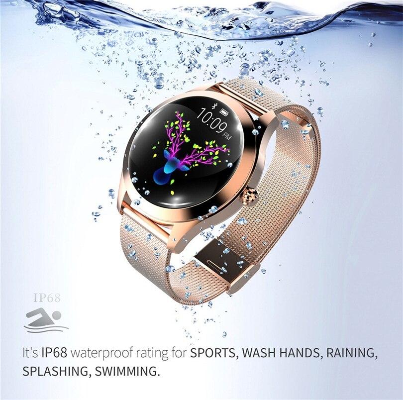Montre intelligente de luxe femmes poignet or IP68 étanche fréquence cardiaque surveillance Bracelet Fitness pour Android IOS montre avec cadeaux S3 - 4