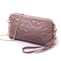 New Brand Genuine Leather Bags Women Flower Pattern Genuine Leather Shoulder Bag Evening Clutch Wallet Purse