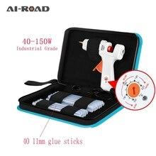 цена на 40-150W Industrial Grade Copper Nozzle Hot Melt Glue Gun+40Pc High-purity Glue Sticks Mini Heat Temperature Tool + Case