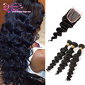 3 Pc Lot Brazillian Loose Wave With Closure 7a Unprocessed Virgin Brazilian Hair With Closure Natural Color Weave With Closure