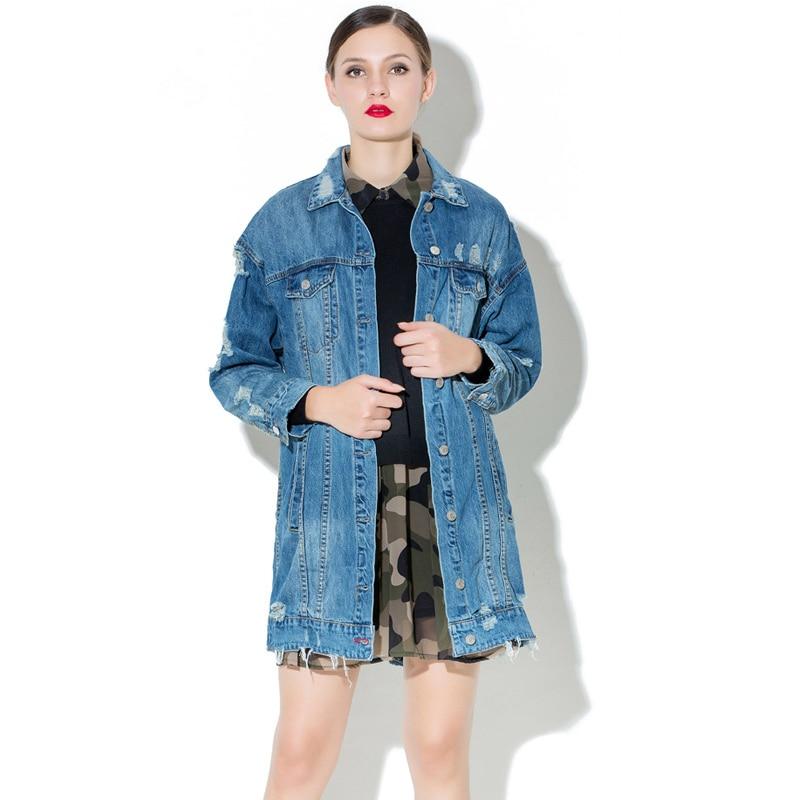 denim jacket Women's coats original design 2017 new spring wash water hole jacket plus size Jeans Overcoat Ladies Jackets tops