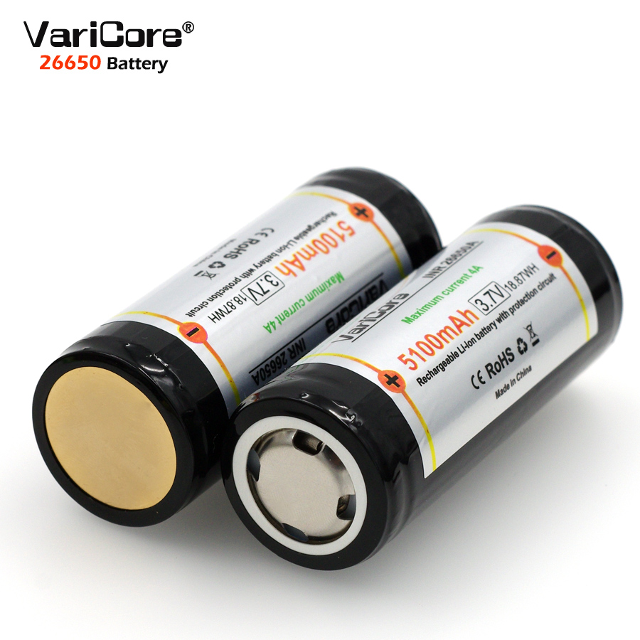 VariCore 26650 3.7V Lithium Battery 26650 4A High current discharge Protective Board Battery for Highlight Flashlight image