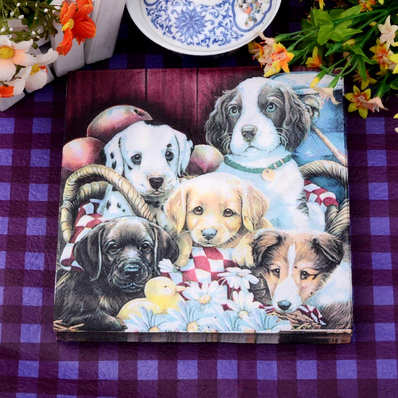 Happy Dog Pet  Family Party Paper Napkin For Girl Festive & Para Festas Tissue Decoration Servilleta 33cm*33cm 20pcs/pack/lot