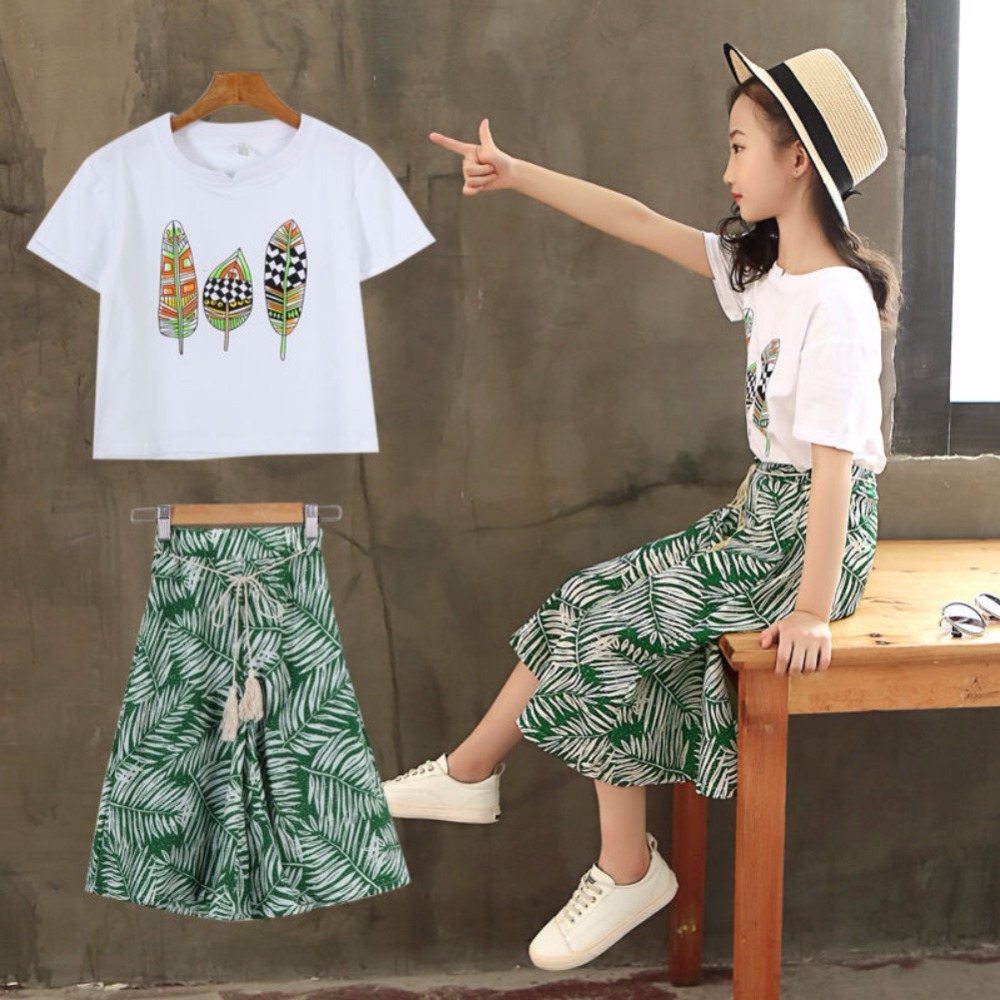 Girls Clothing Sets Summer Fashion Girls Sleeveless T-shirt Tops+ Pant Overall Wide Leg Trouser Outfits 2Pcs Girls Clothes