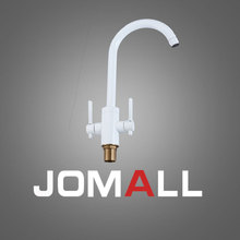 Fashion White Dual Handle 360 Degree Rotating Brass Swivel Sink Mixer Deck Mounted water purifier faucet for kitchen donyummyjo best quality wholesale and retail kitchen sink black water faucet 360 degree rotating deck mounted kitchen mixer taps