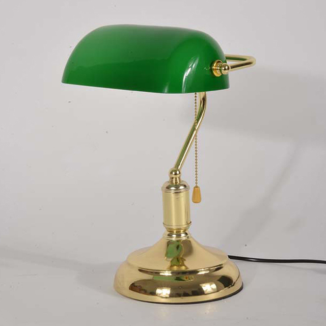 Chinese Style Retro Table Lamp With Pull Chain Switch Glass