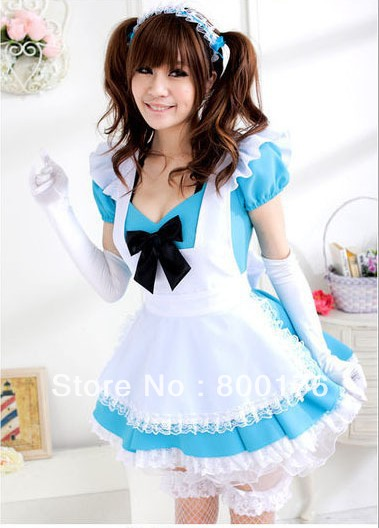 FREE SHIPPING e208 Sexy French Maid Uniform Halloween Costumes Princess Cosplay Fancy Dress